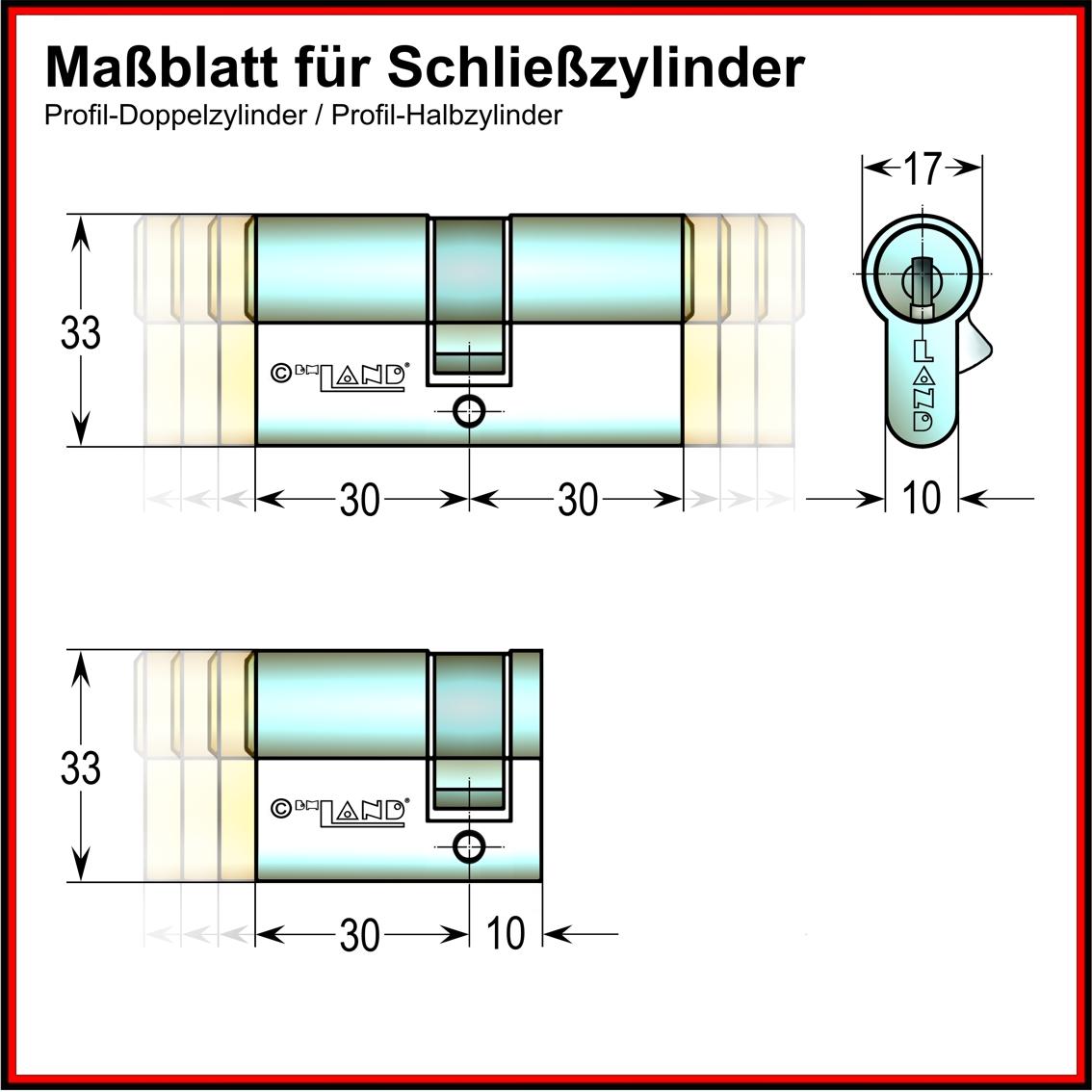 Maßblatt für Zylinder
